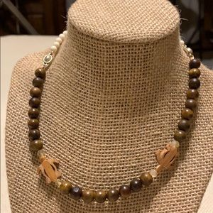 Brass and sandalwood beaded necklace